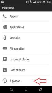 mesurer le signal mobile GSM : choisir A propos