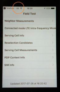 mesurer le signal mobile GSM : valeur plutôt que barres